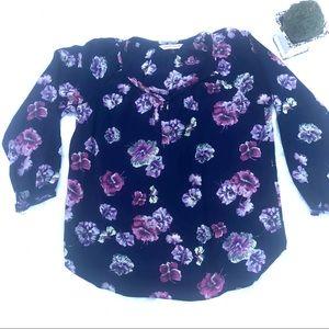 Rebecca Taylor 100% Silk 3/4 Sleeve Blouse  Sz 0